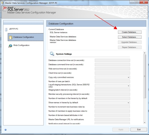 MDS Config Create Database