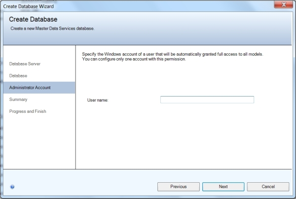 MDS Database Wizard Administrator Account