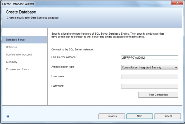 MDS Database Wizard Connect to Server