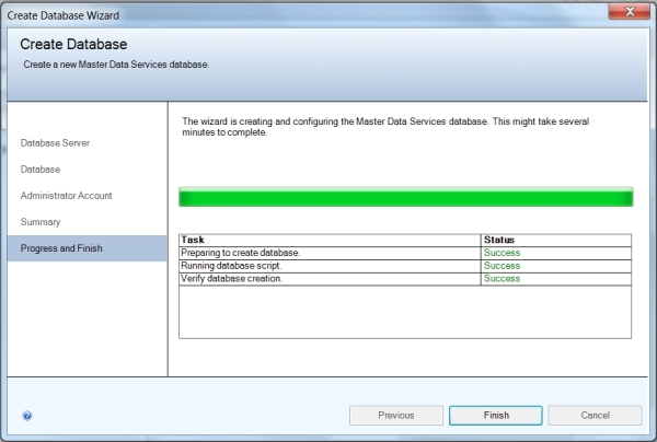 MDS Database Wizard Success