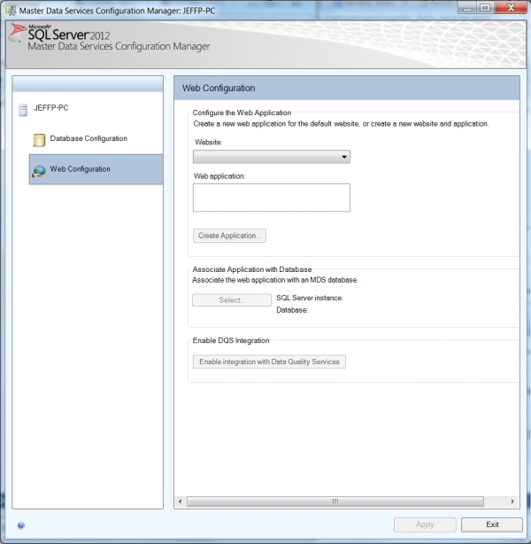 MDS Web Configuration Screen