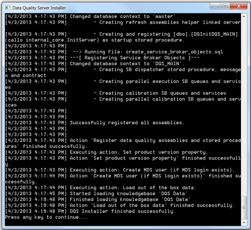 DQS Installer command prompt finished