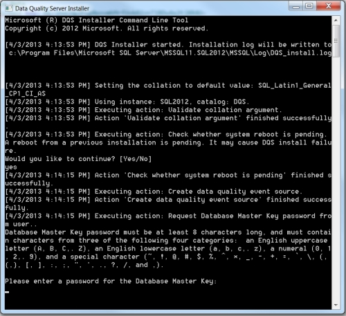 DQS Install command prompt