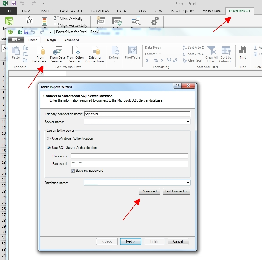 Encrypting sql server connections jeff proms sql server blog select from sql server 6 enter the server name login credentials and database name 7 click the advanced button xflitez Choice Image
